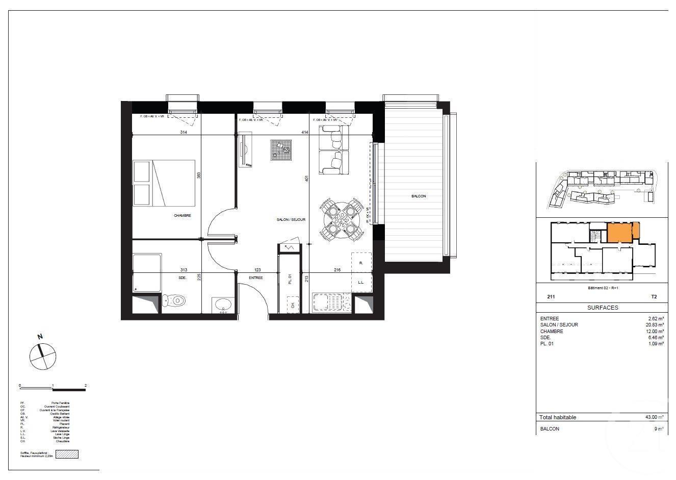 plan appartement 43 m2